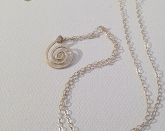 Sterling Silver Spiral Necklace - Hand Formed - Hammered Texture