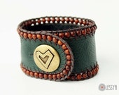 Dark Green Leather Men / Women Cuff, Boho Bracelet