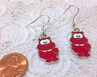 Red Hippo Earrings