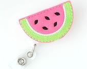 Watermelon Slice - Felt Badge Reels - Cute Badge Clips - Retractable ID Badge Holder - Feltie Badge Pulls - Nurse Badge Holder - BadgeBlooms