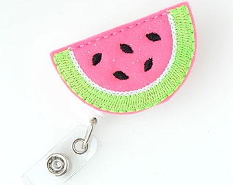 Watermelon Slice - Felt Badge Reels - Cute Badge Clips - Retractable ID Badge Holder - Feltie Badge Pulls - Nurse Badge Holder - BadgeBlooms