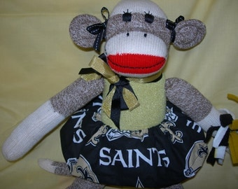 New Orleans Saintsl Brown Red Heel Sock Monkey Girl Doll/Cheerleader
