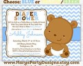 Teddy Bear Baby Boy Shower Invitation - Diaper Shower Party - Chevron Blue - Digital Printable PDF JPEG Evite