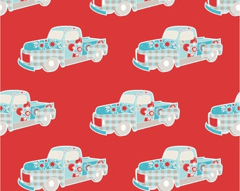 Twice as Nice by The Quilted Fish Riley Blake Fabric - Red Truck  - Fat Quarter  Cut - Cotton Fabric