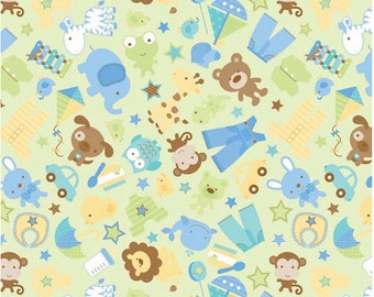 Snips Main Green by Riley Blake Designs - 1 Yard Cut - Green Fabric - Lion Fabric -Novelty Fabric