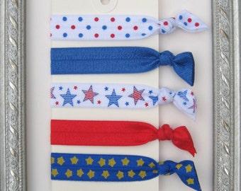 Patriotic Elastic Hair Ties~  FREE Shipping