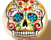 Skull Ring - Day Of The Dead - Sugar Skull - Halloween Ring - Halloween - Skull Jewelry - Snow Globe Ring