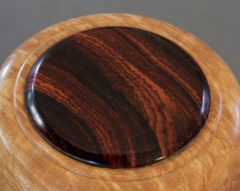 Maple burl lidded box with Cocobolo inlay in the lid.  Item # 62