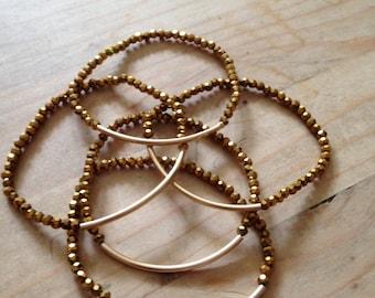 Gold crystal and 14k gold filled curved tube stretch bracelets