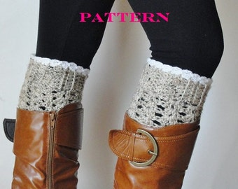 Crochet Boot Cuffs With Lace Pattern : Womens Crochet Boot Cuffs Faux Leg Warmers by ...