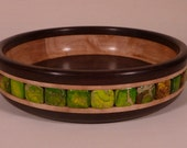 Small Wooden Bowl with Stone Inlay (Green Marine Jasper)