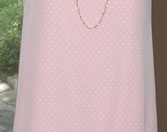 No. 500 Polka Dot Washable Salmon Pink and White Silk Crepe Dress  & Antique Embroidered Polka Dot Netting
