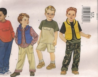 Butterick Sewing Pattern 6727 - Boys' Vest, Top, Shorts, and Pants (6-8)