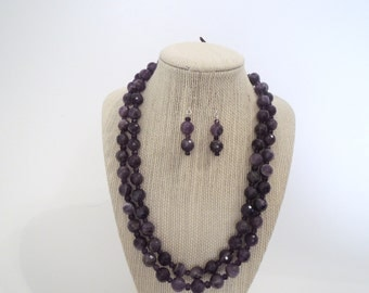 Purple Amethysts Faceted Double Strand Earrings Set Necklace Silver Gift  Fashion Under 50