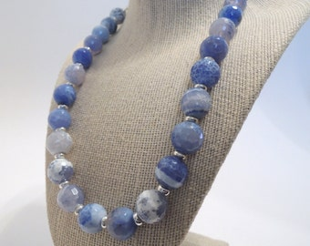 Blue Fire Agate Single Strand Unique Faceted Silver Sparkling Classic Handmade Necklace Gemstones Toggle Fashion Gift under 50