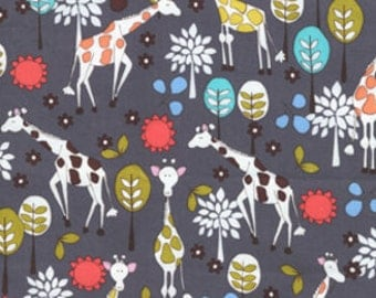 Michael Miller Fabric - 1 Fat Quarter Giraffe Garden in Grey Mod Prints