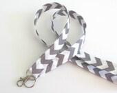 Lanyard ID Badge Holder Grey White Chevron Key Lanyard - Fabric Lanyard Choose Your Color, Teacher Lanyard, Nurse Lanyard