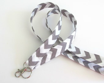 Lanyard ID Badge Holder Grey White Chevron Key Lanyard - Fabric Lanyard Choose Your Color, Teacher Lanyard, Nurse Lanyard