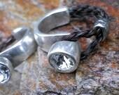 Half Cuff Ring w. Swarovski Crystal - Horse Hair Ring