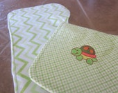 Baby Burp cloth, set of 2 contoured fit burp cloths, Baby Nursery, baby shower gift, mini custom embroidery design, flannel,