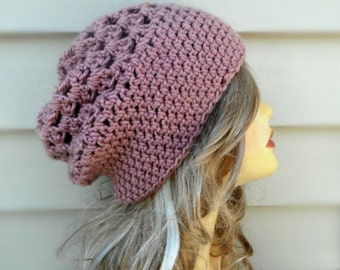 Womens Hats- Slouchy Beanie Hat, Crochet Hat, Winter Accessories, Choose Your Color