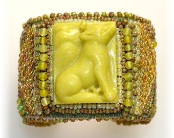 Lemon Jade Fox Beaded Cuff Bracelet