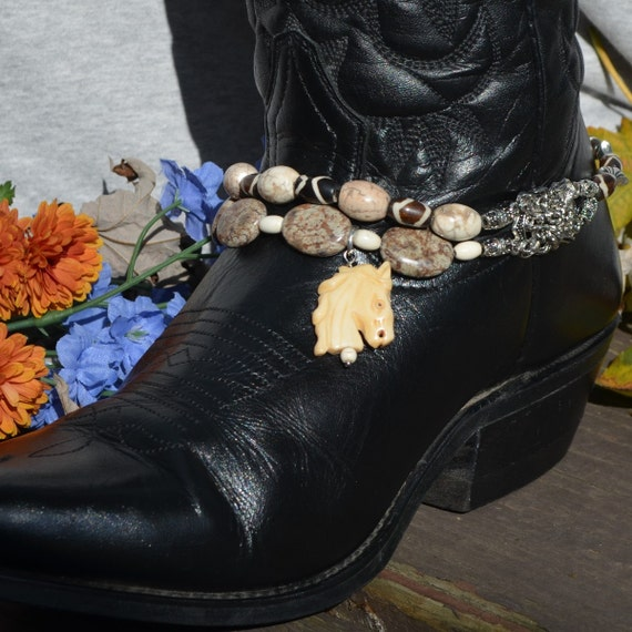Boot Bracelet With Bone And Stone Beads And Carved Horse Pendant