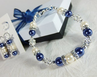 Navy Blue and Ivory Bridesmaid Jewelry Set Bridesmaid Gift, Bridesmaid Jewelry, Wedding Gift, Wedding Jewelry, Bracelet and Earrings