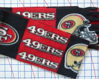 "San Francisco 49ers Simple Scarf- No Sew, Anti Pill Fleece- 6"" x 58"" Red Black and Gold Design- Fortyniners NFL Scarves- Ready to Ship"