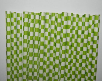 25 Lime Green and White Square Checkered Paper Straws- Watermelon Straw- Birthday Decorations, Cake Pops- Baby, Bridal Shower, Wedding Decor