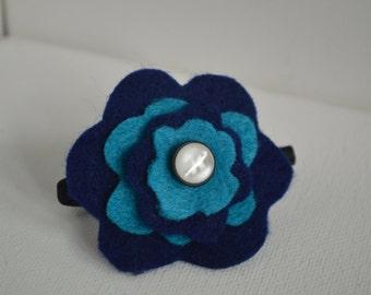 Blue Felt Flower Ponytail Holder