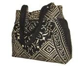134-large bag, tote, color black and light beige, handmade
