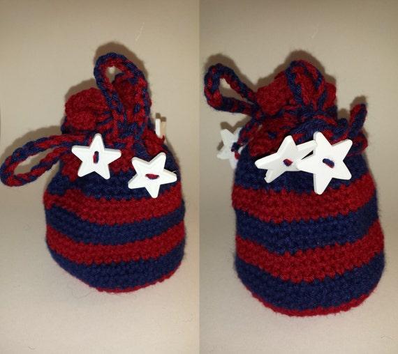 Dragon Dice Bag Crochet Pattern : Crocheted drawstring dicebag dice bag red blue white star