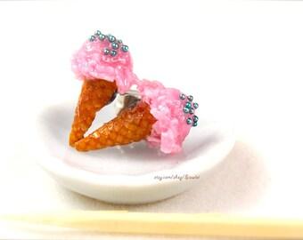 Handmade Tiny Ice Cream Earrings - Food Jewelry