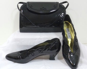 D'ROSSANA by CHARNA Black Patent Pump and Matching Purse Size 7 M