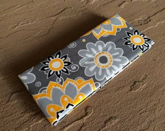 Magic Wallet - Billfold: Yellow, Gray, Black Flowers and Chevrons Print