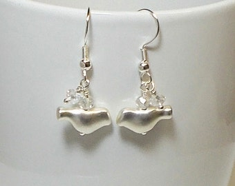 Silver Bird With Shimmer Crystal Wedding Party Dangle Earring Silver Bird Earring Bird Earring Wedding Earring