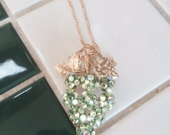 Vintage crystal green grapes necklace pin combo gold tone free shipping