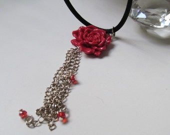 Roses and Velvet Chord Necklace