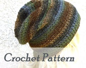 Instant Download Crochet Pattern Slouchy Gaming Beanie Mens Beanie Womens hat Hat Beginner Instructions Crocheted beanie hat Slouch Hat