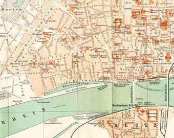 Cologne city map  Cologne city plan Rhine map Deutz map Cologne streets list 19th century map : Antique 1890s lithograph old book plate