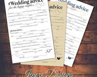 Wedding Mad Libs Advice Card - Printable Design - Instant Download