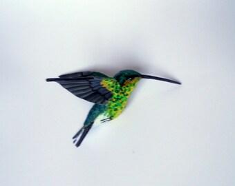 paper mache art bird sculpture hummingbird  ornaments