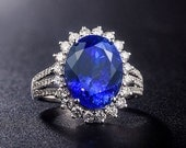 Engagement Ring -  8.2 Carat Tanzanite Engagement Ring With Diamonds In 14K White Gold
