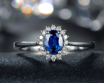 Engagement Ring -  1.5 Carat Blue Sapphire Ring With Diamonds In 14K White Gold