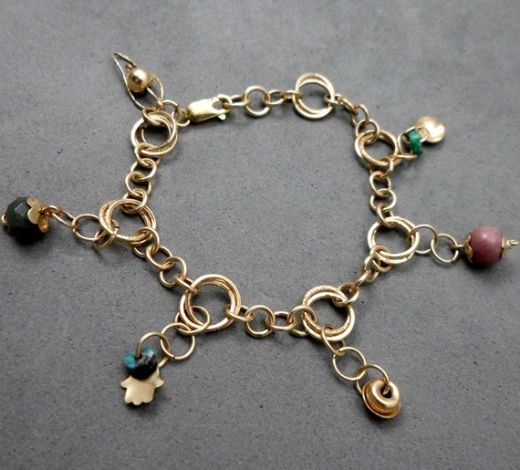 CHRISTMAS SALE: 20% off Charm Gold Filled Bracelet, Pink and Turquoise Charms,  Vintage Style