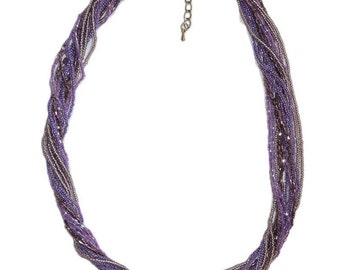Shades of Purple Multi-Strand Seed Beads Necklace,Nepal, N110