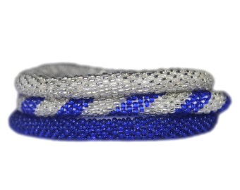 Cobalt Blue and Silver Handmade Bracelets Set, Seed Beads,Nepal, BS100