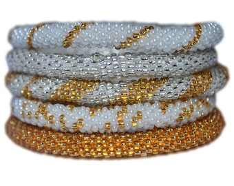 Silver, Gold and White Handmade Bracelets Set, Seed Beads,Nepal, BS101