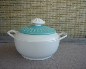 Vintage Ceramic Serving Dish with Lid, Turquoise and White Serving Bowl, Shabby Chic